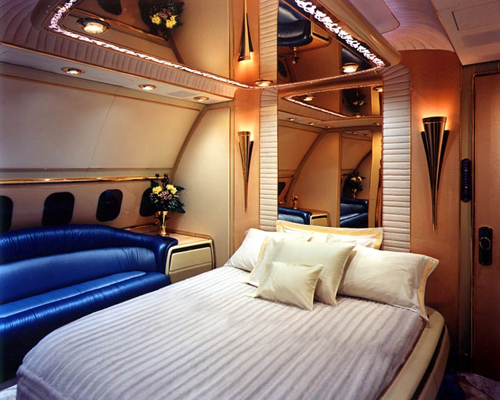 bedroom of sultan of brunei private airplane